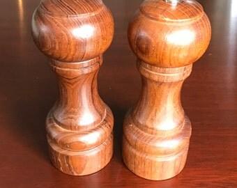 VintageTeakwood Salt Pepper Shakers, Pepper grinder, Goodwoods Genuine Teak, Turned wood salt and pepper set, hostess gift, gift for cook