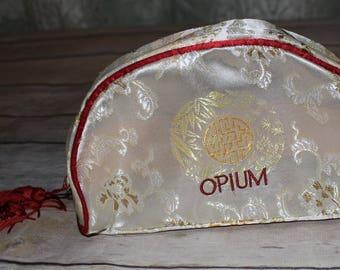 Vintage Yves Saint Laurent OPIUM Parfums Bag Red Tassel RARE Cosmetic Travel Case