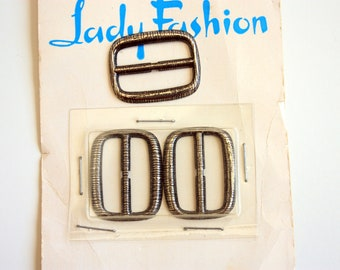 Set of 3 Brushed Metal Buckles, Silvertone Buckles,