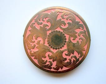 REX Fifth Avenue Compact - Brass and Enamel Compact - Vintage Compact