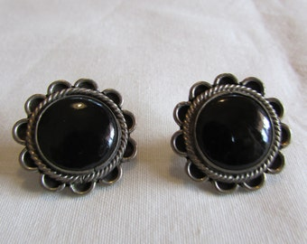 Sterling Silver and Black Onyx Post Earrings
