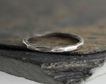Thick facted Silver Rings, Stacking Ring, Hammered Ring, Sterling Silver Band Ring, Staking Silver Ring, Dainty Stacking Ring