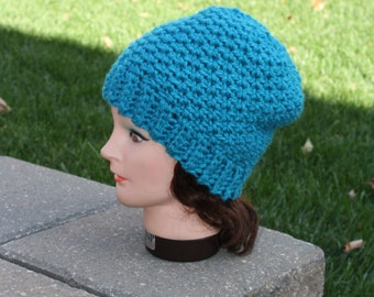 Ready to ship Cochet Hat,Textured Beanie,Turquoise Hat,Womens Winter Hat,Crochet slouch Hat,Beanie,Textured Slouchy,Winter Hat,Thick Hat