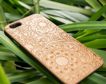 Mandalas - personalized Custom Name Wood iPhone SE case Wood iPhone 7 Case iPhone 6S Case wood iphone 6 case