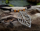 Brass Leaf and Carnelian Choker