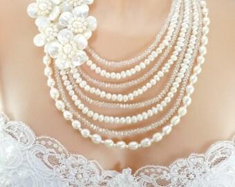 Shell Flower Bridal Necklace, Fresh Water Pearl Necklace, Crystal Necklace, Mother Of Pearl Necklace, Multi Strand, Beach Wedding