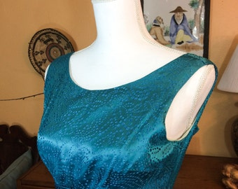 Teal Evening Dress, Empire Waist, Deep Teal Turquoise, 1960s, Handmade Dress, Special Occasion, Size Small XS, Vintage