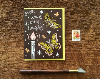 Moth to a Flame, Love Card, Letterpress Note Card, Blank Inside