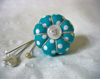 Pin Cushion / Pin Cushion Ring / Vintage Style Pin Cushion Ring/Jade Green Polka dot pincushion  / Retro Pincushion