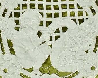 Divine Antique French Richelieu lace Panel, Winged Cherub & Griffin, C1900