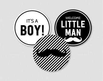 Mustache Baby Shower Cupcake Toppers and Cupcake Wrappers Printable - Little Man and It's a Boy Cupcake Toppers Instant Download - 0002-K