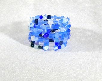 Glass Bead Bracelet spiral cuff wide Bangle Bracelet Blue Cat Christmas gift birthday mother day Valentine's day