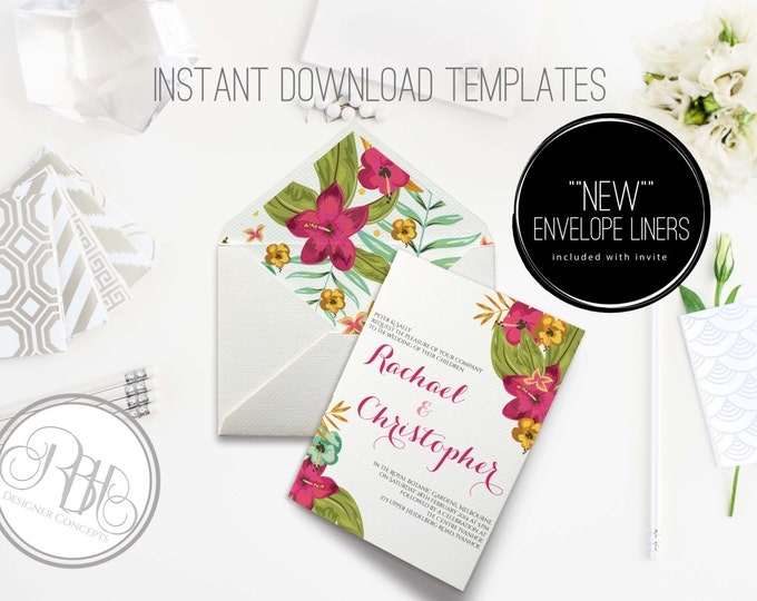 Tropical Watercolor Wedding Invitation/Envelope Liner/INSTANT DOWNLOAD Template/5x7/PDF/Psd Editable Text Only/Watercolor Flowers-Matilda