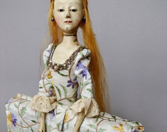 SOLD! Wooden Queen Anne style doll.