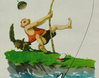 Illustrator Dementiev. Vintage Soviet Postcard - 1957. Printed in the Latvian SSR, Riga. Fisherman, Dog