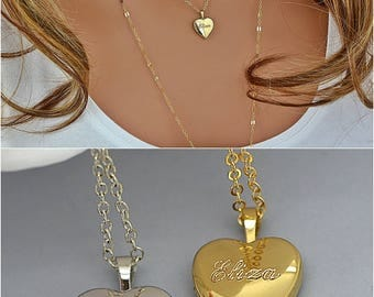 Locket Necklace, Name Locket Necklace, Personalized Heart Locket Necklace Gold or Silver, Engraved Locket, Locket Pendant