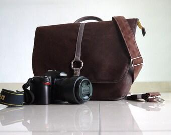 New Year SALE - KOWA - Dark Brown, Waxed Canvas Backpack/ laptop Backpack/ DSLR Bag/ Camera Bag/ Handbag/ Crossbody Bag / Women