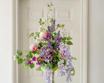 Silk Flowers English Garden Peony & Blossom Arrangement   Luxury Flower And Foliage Silk Flower Bouquet   Artificial Flowers