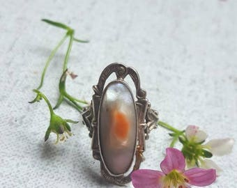 Victorian style Vintage Abalone and Sterling Silver Ring size 7 1/2 or 56