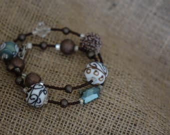Brown and Teal Wrap Bracelet