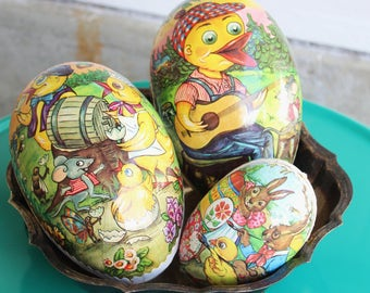 Vintage Papier-Mâché EASTER EGGS Made in Germany, Large Size, Set of 3