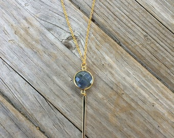 Labradorite Necklace, Natural Stone Necklace, 24k gold plated necklace, Adjustable Necklace, Gifts for her, Bridesmaid Necklace