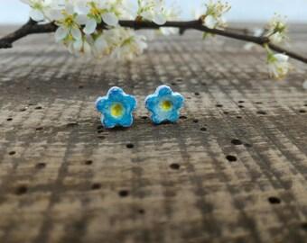 Myosotis earrings, blue pink flower mini studs, blue diasy, forget-me-not, clay flower earrings, eco friendly jewelry, ecochic earrings