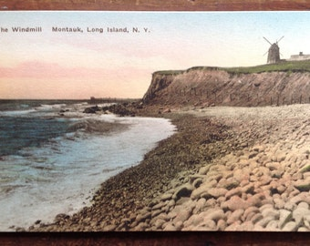 Montauk, NY, Vintage Postcard, Long Island, New York, The Windmill, Beach, Postcard, Hand colored by the The Albertype Company in Brooklyn