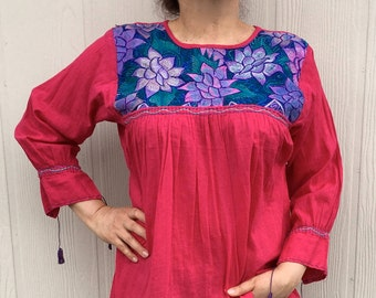 "Hand Embroidered Vintage Mexican Tunic ""Campo Azul"""