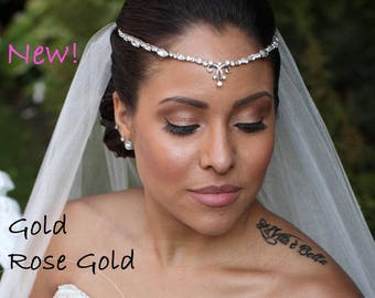 Rose Gold ~ Gold ~ Bridal Forehead Band ~ Bridal Headband ~ Rhinestone Hair ~ Crystal Headpiece ~ Wedding Headband ~HeadpieceHeaven