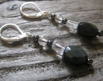 RAINBOW OBSIDIAN & clear crystal quartz EARRINGS, hematite accents, sterling, lever backs, 1 1/8 inch dangle.