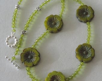 Peridot Flower Necklace,  Yellow Green Necklace,  Kiwi Necklace,