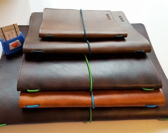 A4 Leather book cover Refillable Journal cover Wine list Sketchbook cover Gift for your Boss Father's Day gift for someone off to uni