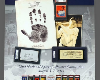 32nd National Sports Collectors Convention Babe Ruth Poster 24 x 32 Size