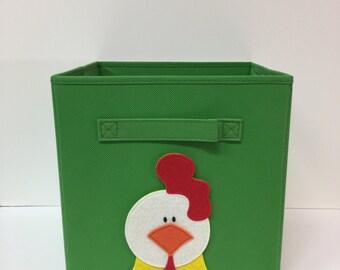 Kids Chicken, Chicken Decor, Kids Farm, Farm Nursery, Farm Decor, Farm Nursery Decor, Nursery Storage, Kids Storage Bin, Fabric Bin, Toy Bin