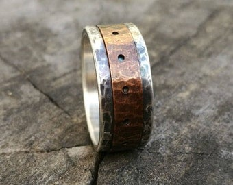 Engagement  Band Rustic Silver Ring Silver hammered ring Handmade wedding Ring Rustic silver copper ring Unique wedding ring Studioadama