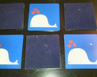Retro Whale blowing hearts coaster set
