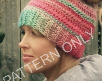 Giddy-up & Go Beanie Pattern, messy bun pattern, ponytail beanie pattern