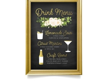 The JAYLA . Drink Menu Sign . Fern Dahlia White Rose Garland & Gold Calligraphy Chalkboard . Martini Lemon Craft Beers Large Printed Wedding