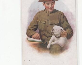 "WW I Soldier In Uniform Cuddling His Bulldog ""Old Glory"" Antique Postcard"