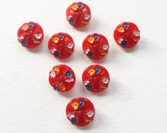 Folklore red Czech glass buttons hand painted flowers 19 mm