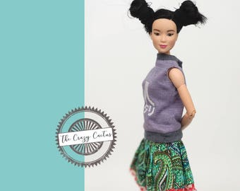 Sleeveless Purple Atari shirt (Japanese) · Handmade Barbie clothes