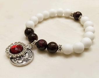 Aquarius Jewelry. January - February Bracelet. Garnet Bracelet. Zodiac Bracelet. Aquarius Bracelet. Birthstone Bracelet. Alabaster #M205