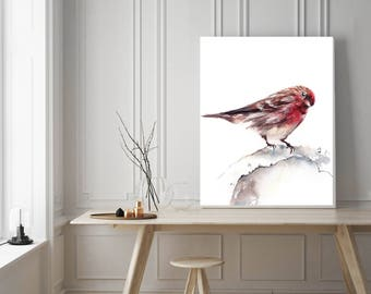 Sparrow art print, watercolor painting of bird, bird art print, bird painting, red bird, watercolour wall art