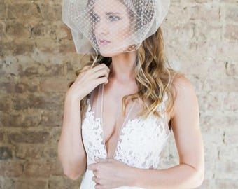 Birdcage Veil, Blusher Veil, Short Veil, Double Layer Veil, Wedding Veil, Wedding Headpiece, Tulle Veil, Bridal Headpiece- Style 203- Ava