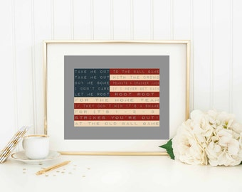American Flag Art Print - Take Me Out to the Ball Game - Baseball Art Print - Sports Art Print - Baseball Home Decor Sign - Baseball Quote