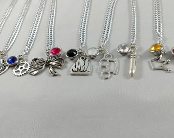 Final Fantasy VII Inspired Mini Jewel & Charm Necklaces - Cloud, Aerith, Tifa, Barret, Red XIII, Cait Sith, Yuffie, Cid, Vincent