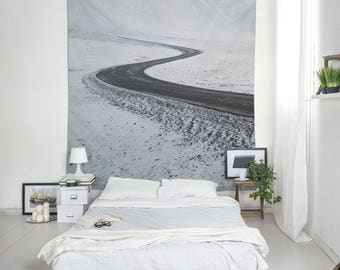 Winter Tapestry, Snowy Landscape, Black Road, Iceland Photography, Black And White Wall Tapestry, Iceland Tapestry, Minimalist Tapestry