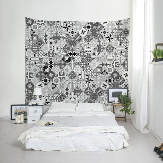Mosaic Tile Tapestry, Boho Tapestries, Black And White, Mosaic Wall Hanging, Modernist Decor, Dorm Tapestries