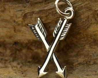 Sterling Silver Crossed Arrow Charm